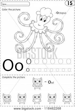 Cartoon Octopus And Owl. Alphabet Tracing Worksheet: Writing A-z And Educational Game For Kids