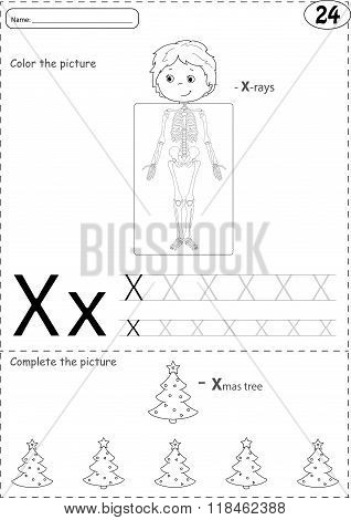 Cartoon X-rays Sceleton And Xmas Tree. Alphabet Tracing Worksheet: Writing A-z And Educational Game