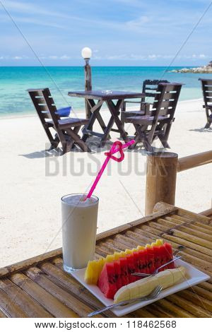 Breakfast With Tropical Fruit And Juice At Beach Resort