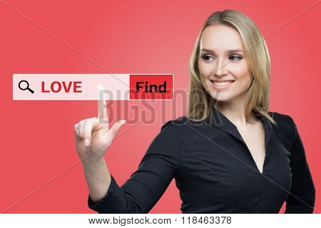 Find Love word on red  virtual screen touching by business woman