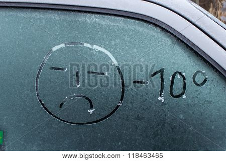 Handwritten Inscription Winter On The Ice Car Rear Glass Window