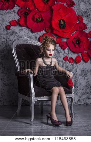 Little Baby Girl In The Image Of A Glamorous Model In A Luxurious Interior