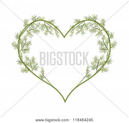 Lovely Green Vine Leaves In Heart Shape
