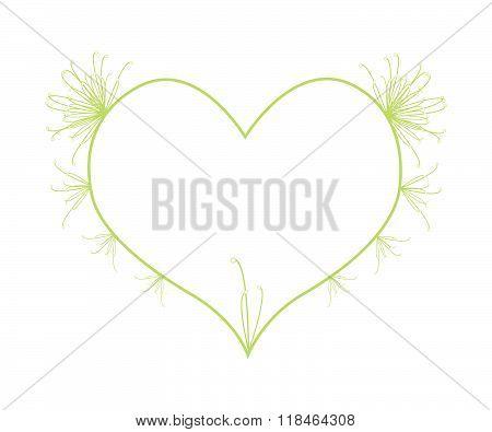 Fresh Cyperus Papyrus Flowers In Heart Shape