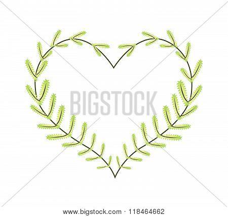 Lovely Green Fern Leaves In A Heart Shape