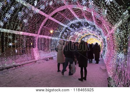 Moscow, Russia - January 17, 2015. glowing Christmas  tunnel   long is 150 meters on Tverskoy Boulevard