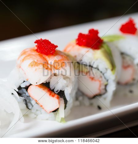 Sushi Set, Sushi Roll With Shrimp And Sushi Roll With Avocado.