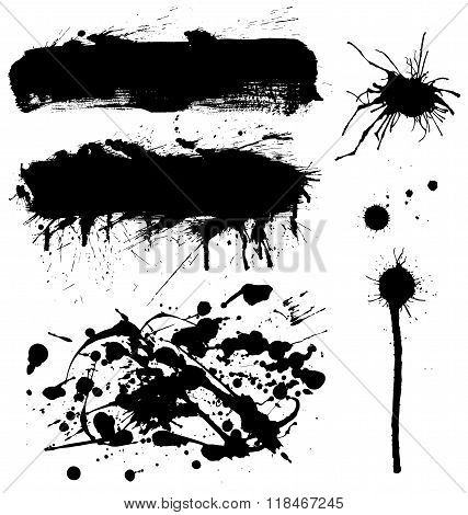 ink symbol set isolated on white backround