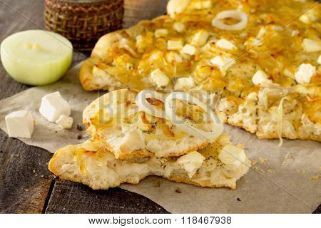 Italian Focaccia With Cheese And Caramelized Onions, Selective Focus.