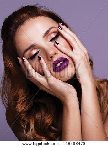 Mascara Applying. Long Lashes closeup. Mascara Brush. Eyelashes extensions. Make up Apply,pink lips
