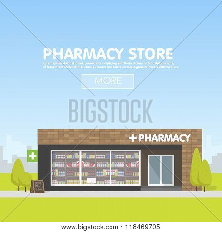 Facade of pharmacy in the urban space, the sale of drugs and pills.