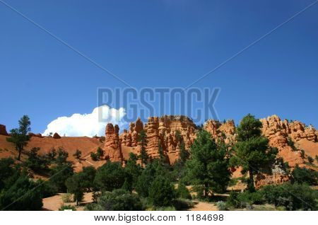 Red Canyon View With Clear Blue Sky