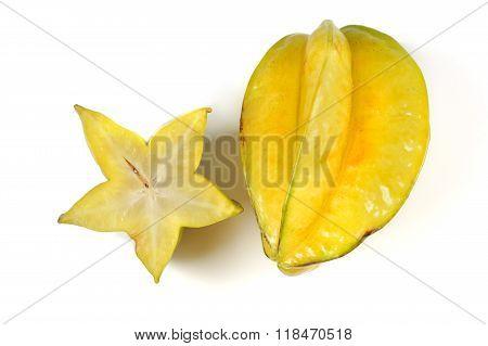 Yellow Fruit Carambola Isolated On White Background