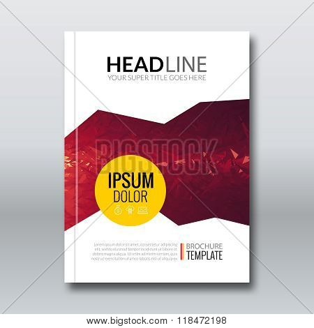 Cover report colorful red triangle geometric prospectus design background, cover flyer magazine, bro