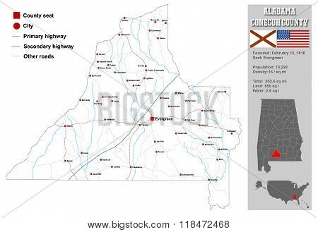 Alabama Conecuh County Map