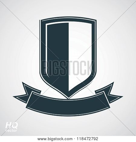 Military award icon. Heraldic blazon illustration, decorative coat of arms. Vector gray defense shield with stylized curvy ribbon protection element best for use in graphic and web design.