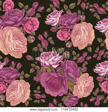 Vector floral seamless pattern with roses and persian buttercup