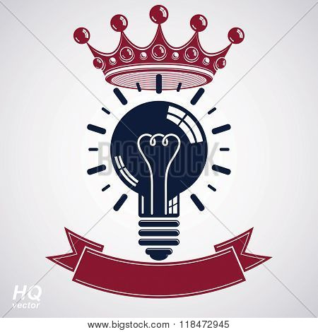 Electricity light bulb symbol with crown insight emblem. Vector royal conceptual icon. Best idea award icon with curvy ribbon. Brilliant idea graphic web design element.