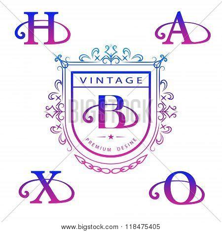 Monogram Design Elements, Graceful Template. Calligraphic Elegant Line Art Logo Design. Letter Emble