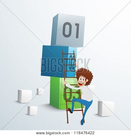 Young smiling Businessman trying to climb up on 3D cubes for Business progress concept.