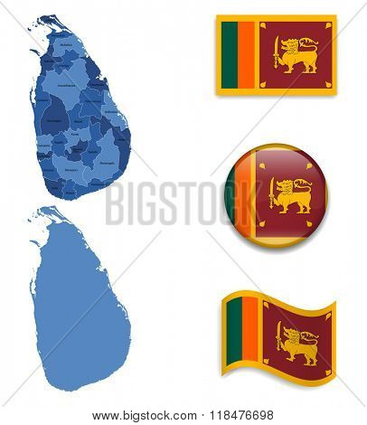 High Detailed Map of Sri Lanka With Flag Collection