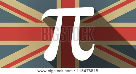 Long Shadow Uk Flag Icon With The Number Pi Symbol