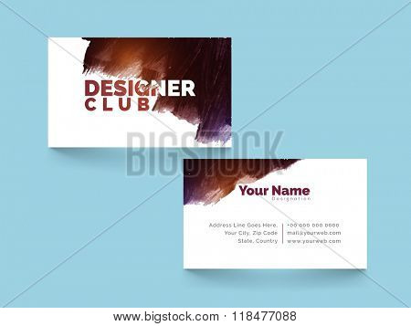 Professional Horizontal Business Card, Visiting Card or Name Card set with glossy paint stroke.