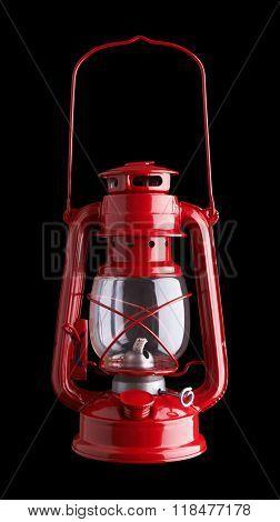 Lantern kerosene oil lamp, isolated on black background