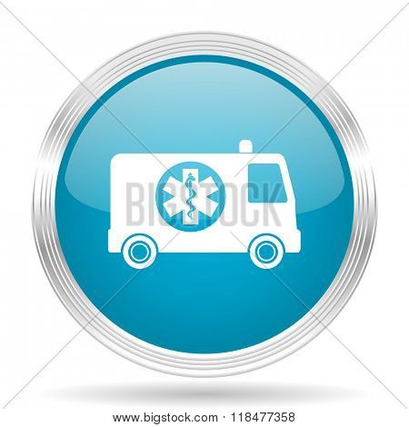 ambulance blue glossy metallic circle modern web icon on white background