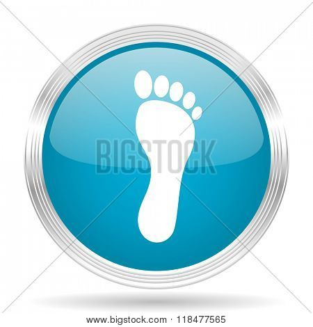 foot blue glossy metallic circle modern web icon on white background