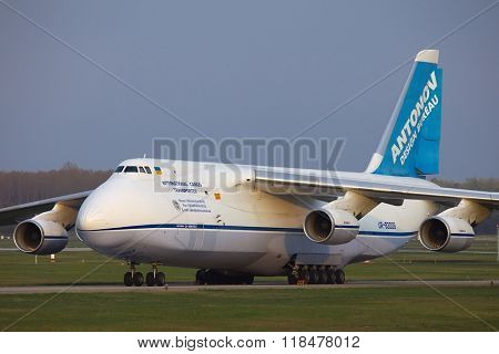BUDAPEST, HUNGARY - APRIL 16, 2013: Antonov An-124 cargo plane at Budapest Airport. The An-124 is one of largest aircrafts in the world for transporting heavy cargo.
