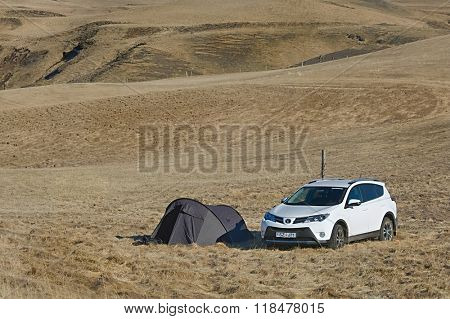 VIK, ICELAND - MAY 07, 2015: Toyota RAV4 four wheel drive vehicle being used for exploreing Iceland