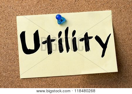 Utility - Adhesive Label Pinned On Bulletin Board