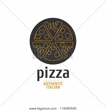 Vector logo, design element for pizza, pizzeria, pizza delivery, Italian restaurant. Hands grabbing