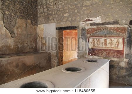 Interior Inside The Buildings Of Pompeii, Destroyed By The Vesuvius.