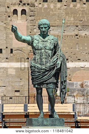 Statue Of Octavian Augustus In The Street Of The Imperial Forum In Rome. Italy, Europe