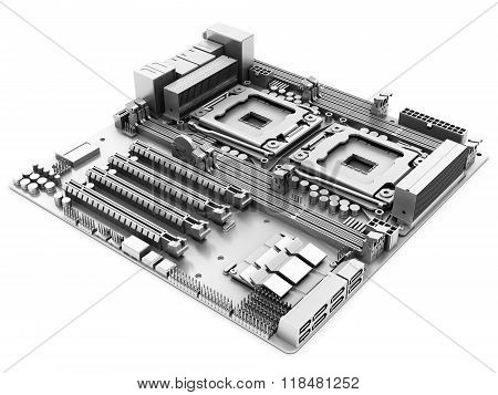 3D Generic Computer Motherboard