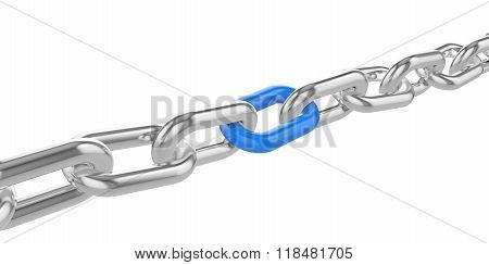 Chrome chain with a blue link at the center.