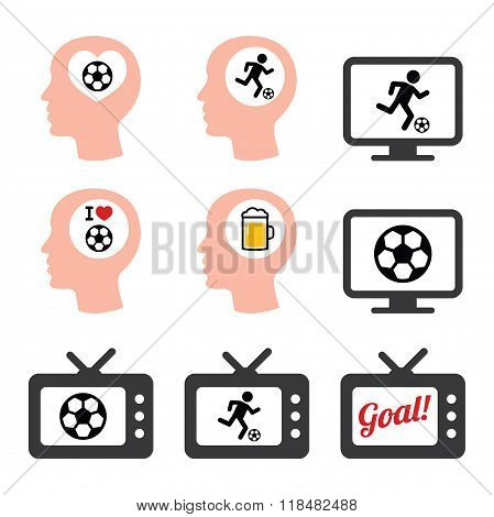 Man loving football or soccer icons set