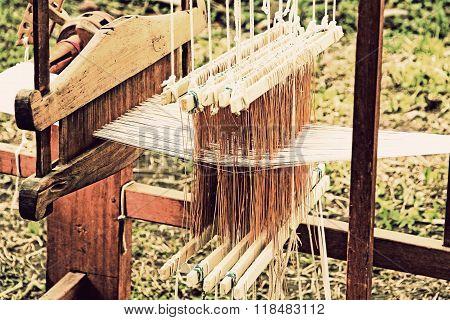 Retro Weaving Loom Detail.
