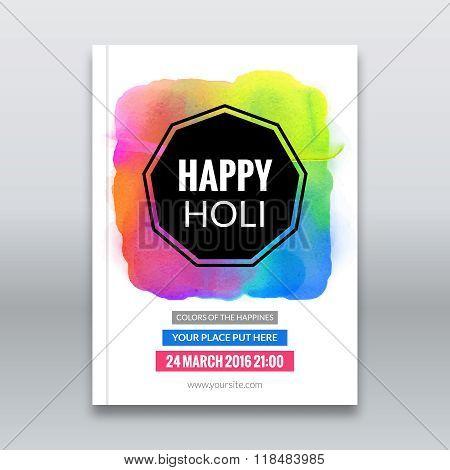 Holi festival poster. Template for flyer, brochure or invitation. Vector illustration. Design for In