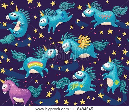 Cute seamless pattern with unicorns in the night sky