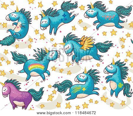 Cute seamless pattern with unicorns in the sky