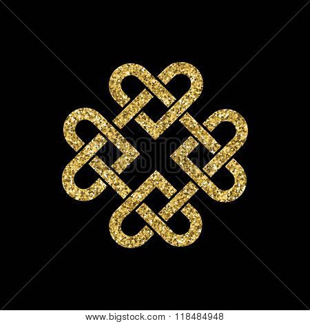 Celtic knot made from interlocking hearts. Gold glitter on black background. EPS10 vector format.
