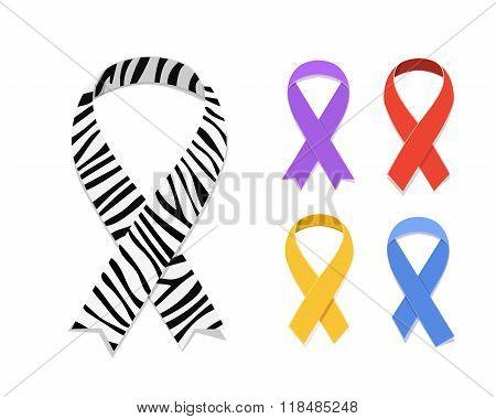 Set of awareness ribbon symbol