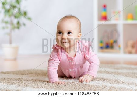 crawling funny baby indoors at home