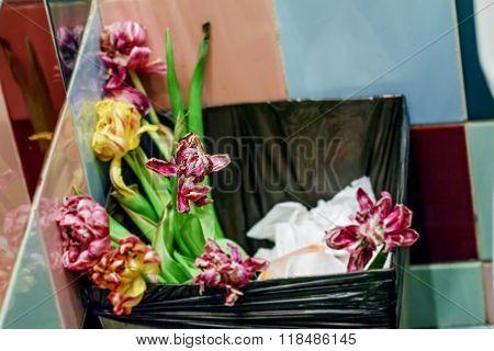 Flowers In Bin