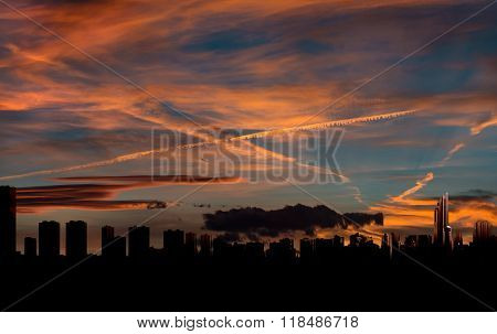 Benidorm Skyline At Sunset. Costa Blanca, Alicante. Spain