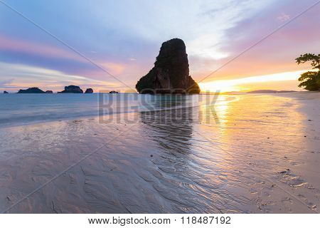 Low Tide At Sunset In The Gorgeous Railey Bay, Thailand
