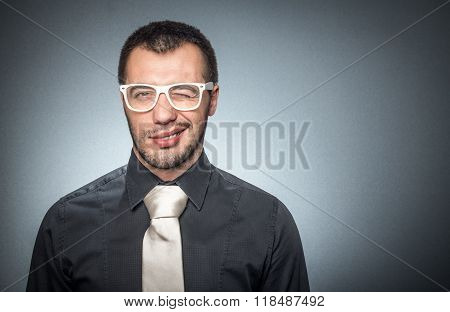 Portrait Of Salesman With Shirt And Necktie